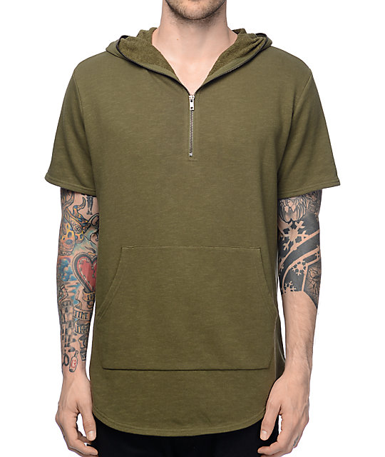 Elwood Olive Terry Short Sleeve Zip Up Hoodie at Zumiez : PDP