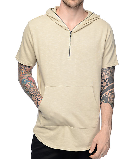 Sand Terry Short Sleeve Zip Up Hoodie