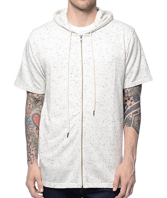 Spek White Short Sleeve Zip Up Hoodie
