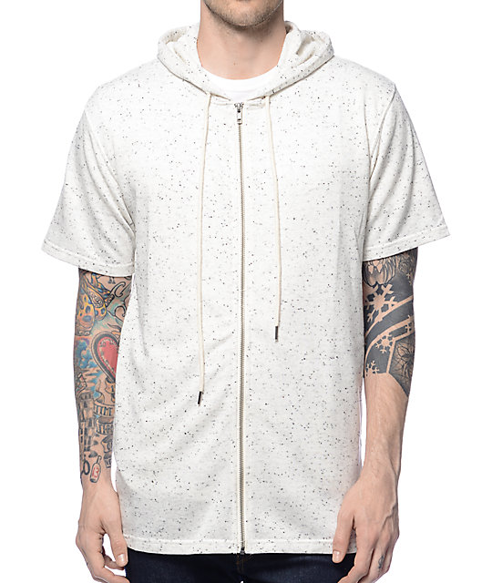 Elwood Spek White Short Sleeve Zip Up Hoodie at Zumiez : PDP
