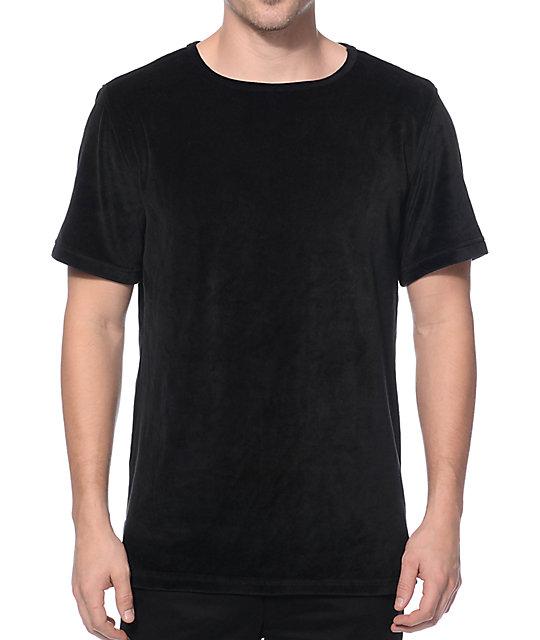 Elwood Velour Black Split Hem Tall T-Shirt