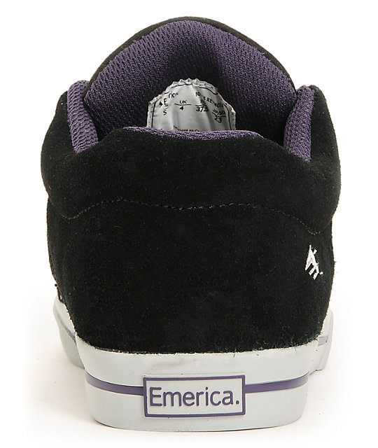 Emerica Boys Reynolds 3 Black & Purple Suede Skate Shoes