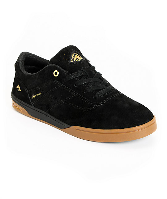 Emerica Bryan Herman G6 Code Black Suede Skate Shoes