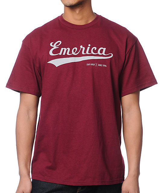 Emerica Bush League Burgundy T-Shirt