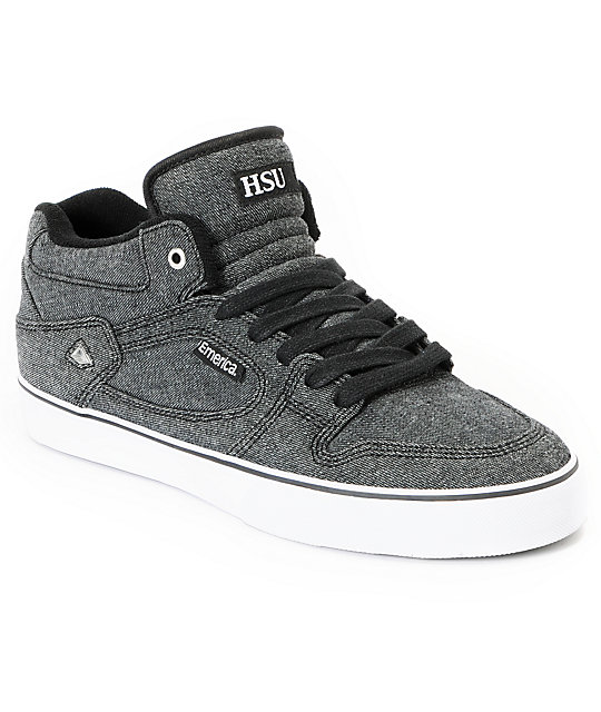Emerica HSU Black Denim Skate Shoes
