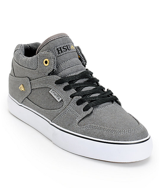 Emerica Hsu Coated Grey, Gold, & White Canvas Skate Shoes