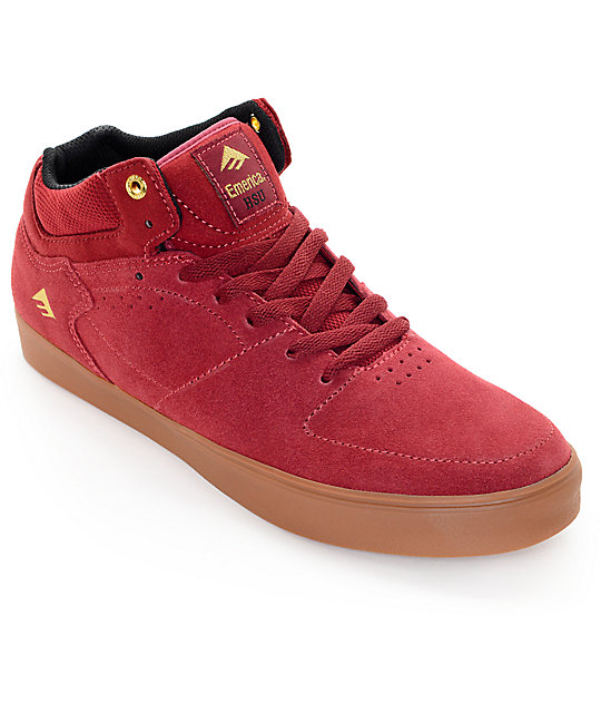 Emerica Hsu G6 Burgundy & Gum Suede Skate Shoes