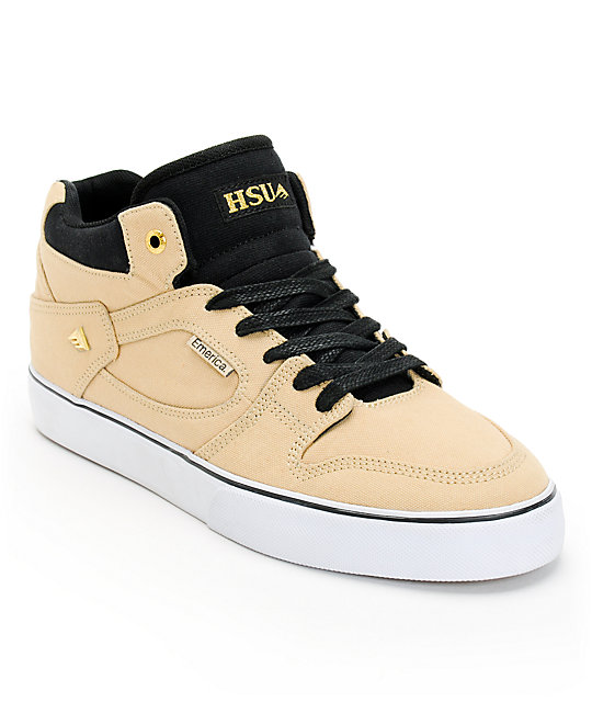 Emerica Hsu Khaki, Gold, & White Canvas Skate Shoes