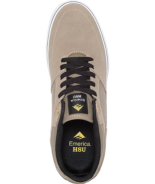 Emerica Hsu Low Vulc Khaki & White Skate Shoes