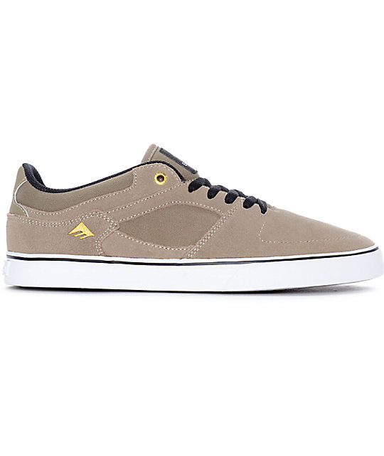 Emerica Hsu Low Vulc Khaki White Skate Shoes