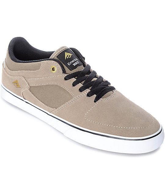 Emerica Hsu Low Vulc zapatos de skate en blanco y color caqui