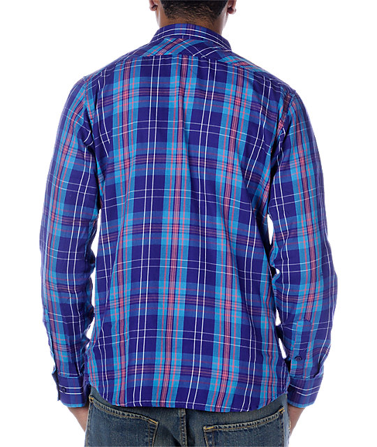 Emerica Hsumo Blue Plaid Long Sleeve Woven Shirt