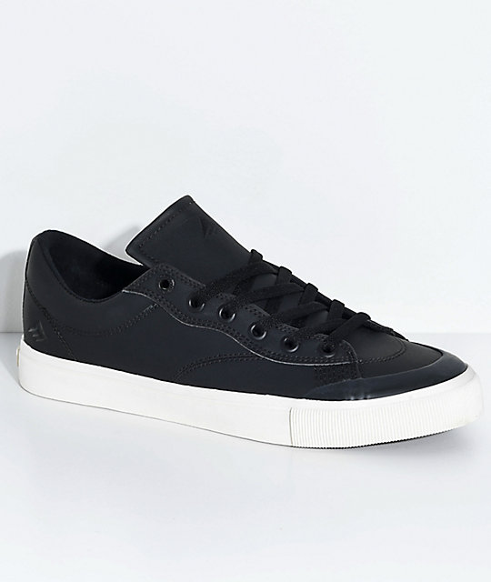 emerica indicator low black white synthetic leather