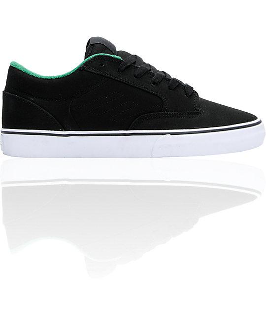 Emerica Jinx Black & Green Canvas Skate Shoes