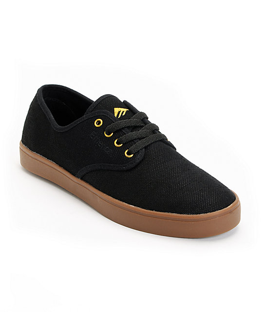 Emerica Laced Black & Gold Hemp Skate Shoes