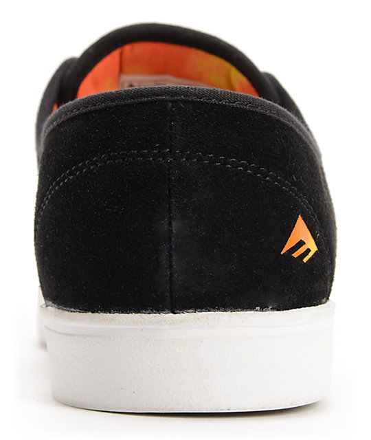Emerica Laced Leo Romero Black & Orange Suede Skate Shoes