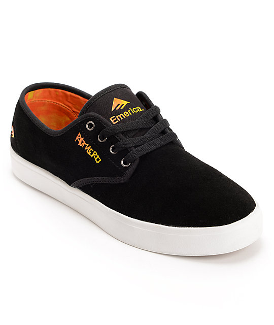Emerica Laced Leo Romero Black & Orange Suede Skate Shoes