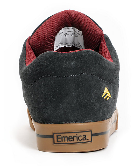 Emerica Reynolds 3 Grey & Gold Suede Skate Shoes