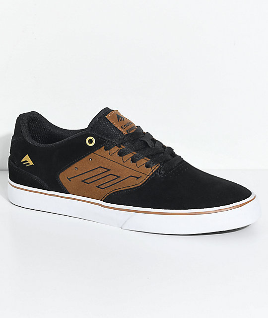 Emerica Reynolds Low Vulc Black, Tan & White Skate Shoes