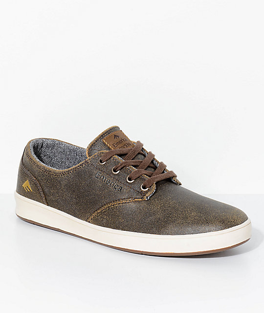 Emerica Romero Laced Brown & Bone White Leather Skate Shoes
