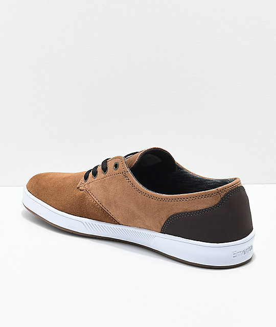 Emerica Romero Laced Brown & White Suede Skate Shoes