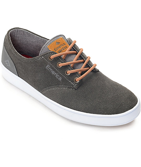 Emerica Romero Laced Grey & Brown Suede Skate Shoes