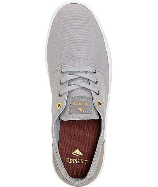 Emerica Romero Laced Grey & White Canvas Skate Shoes