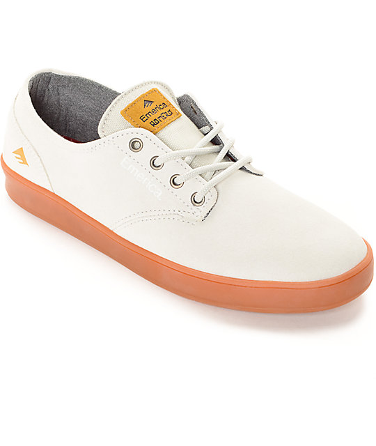 Emerica Romero Laced White & Gum Suede Skate Shoes
