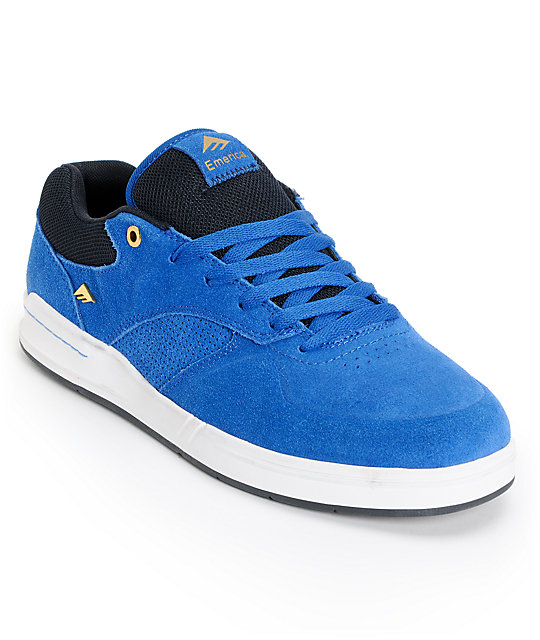 Emerica The Heritic Blue, Black, and White Suede Skate Shoes