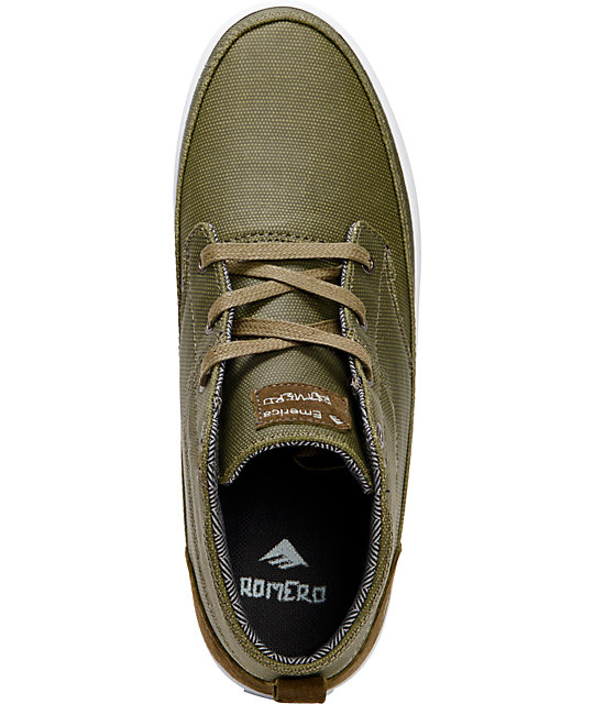 Emerica Troubador Leo Romero Olive & White Canvas Shoes