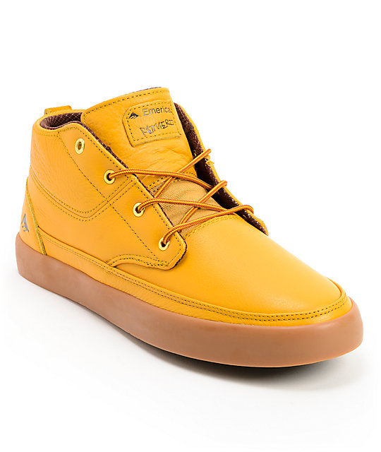 Emerica Troubadour LX Leo Romero Tan & Gum Leather Skate Shoes