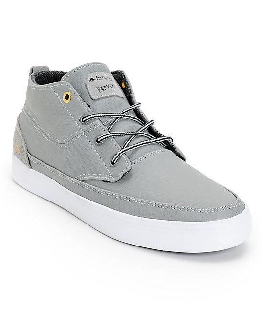 Emerica Troubadour Leo Romero Grey & White Coated Canvas Skate Shoes