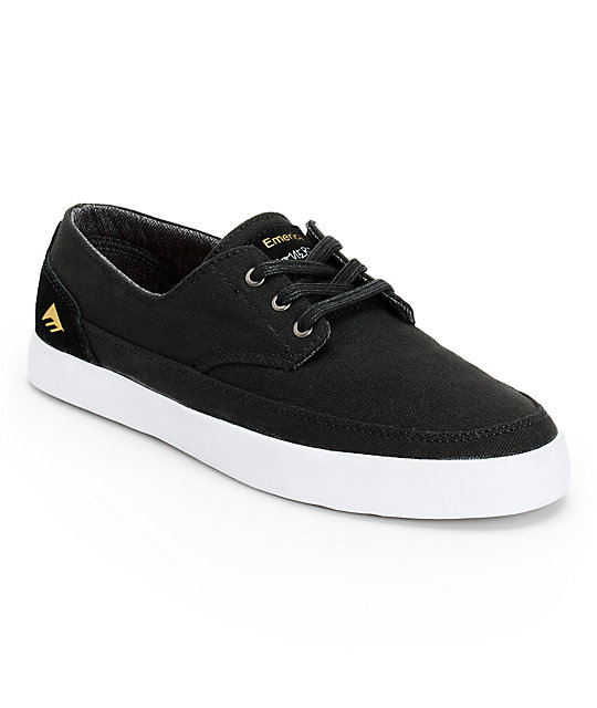 Emerica Troubadour Leo Romero Low Black & White Skate Shoes