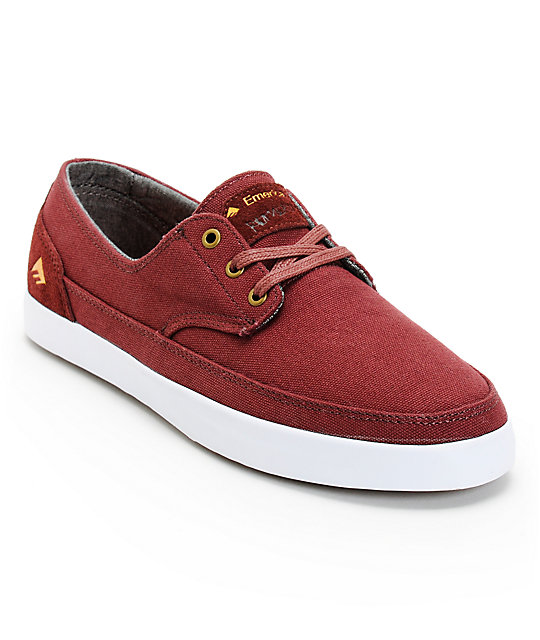 Emerica Troubadour Low Leo Romero Maroon & White Canvas Shoes