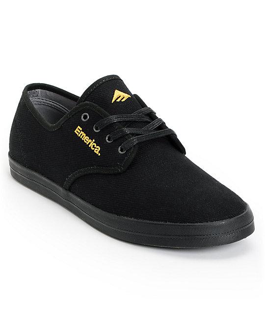 Emerica Wino Black & Gold Canvas Shoes