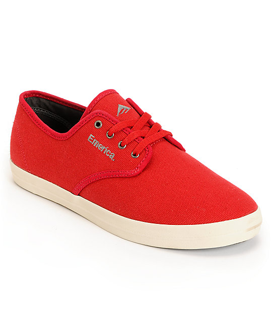 Emerica Wino Red & White Canvas Shoes