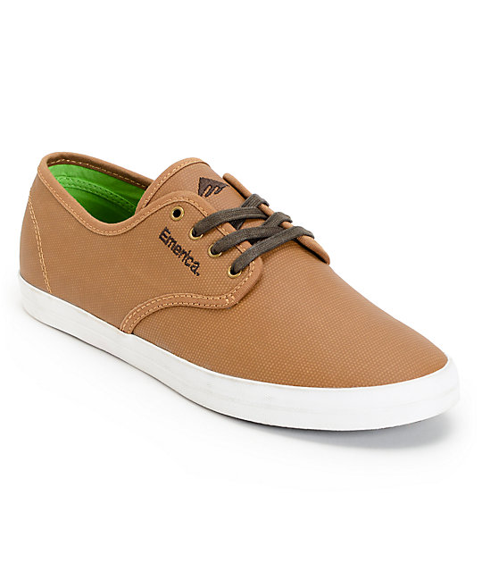 emerica wino brown coated canvas skate shoe at