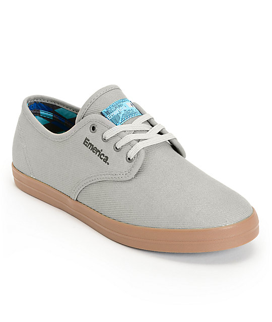 Emerica Wino x Tempster Grey Twill & Gum Skate Shoes
