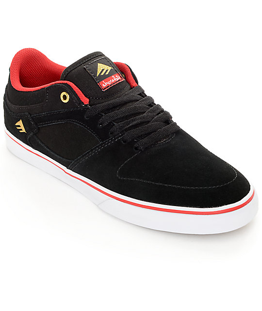 Emerica x Chocolate Hsu Low Vulc Black, Red, & White Skate Shoes