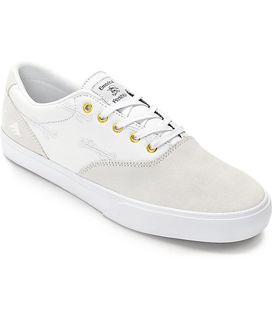 Emerica x Hard Luck Provost Slim White Skate Shoes