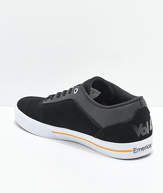 Emerica x Vol. 4  G-Code Re-Up Black, White & Gold Skate Shoes