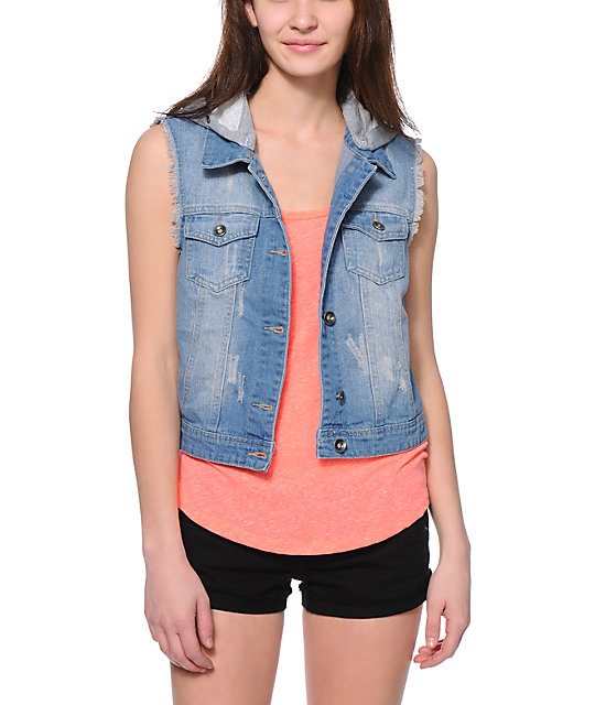 Empyre Abby Crochet Hooded Denim Vest