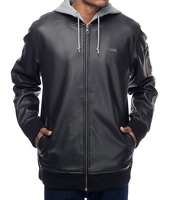 Empyre Action Pleather chaqueta bomber en negro