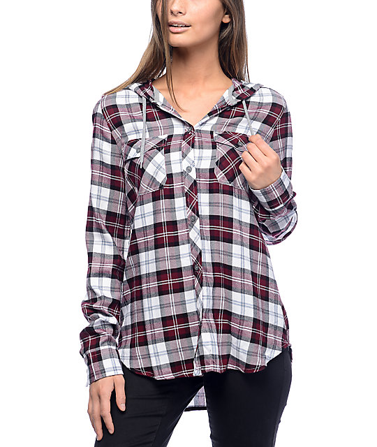 Empyre aimie burgundy white hooded flannel shirt for White and black flannel shirt womens