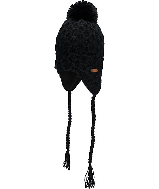 Empyre Aisha Fleece Earflap Black Knit Beanie
