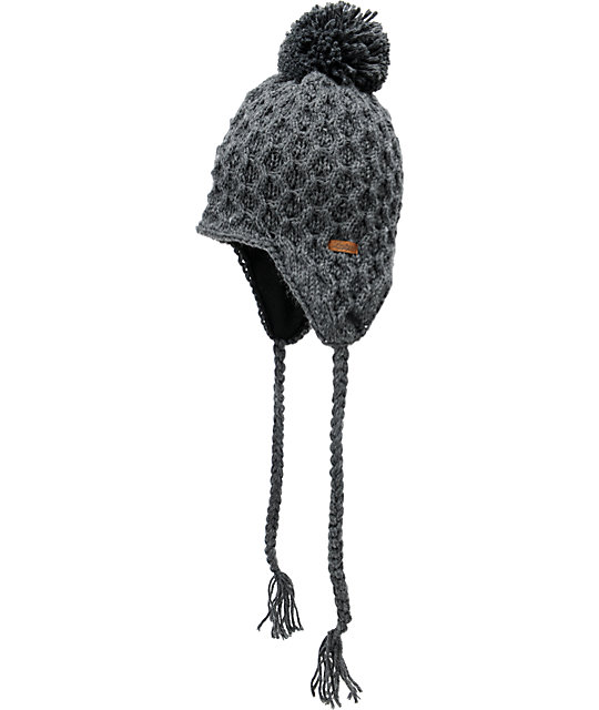 Empyre Aisha Fleece Earflap Charcoal Knit Beanie