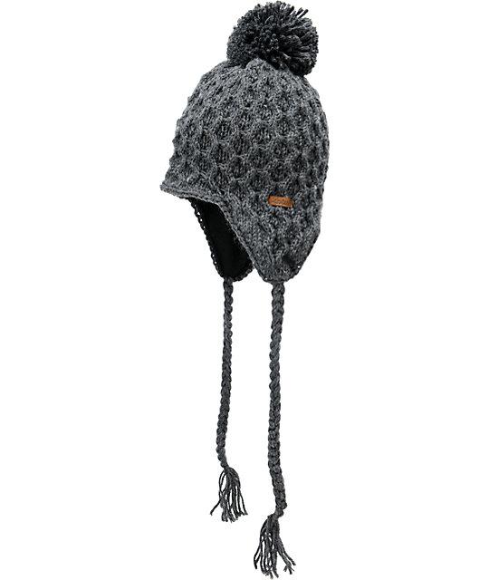 Empyre Aisha Fleece Earflap Charcoal Knit Beanie