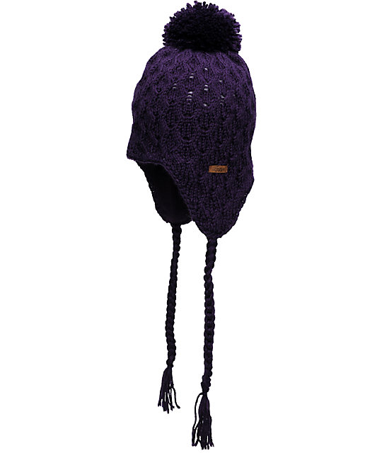 Empyre Aisha Fleece Earflap Purple Knit Beanie