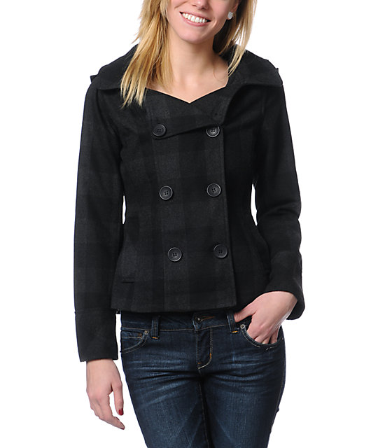 Empyre Alchemy Charcoal & Black Buffalo Plaid Peacoat