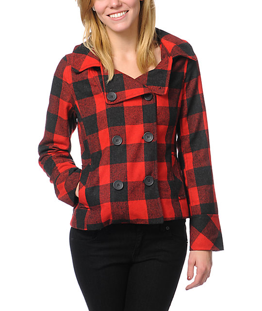 Empyre Alchemy Red & Black Buffalo Plaid Peacoat